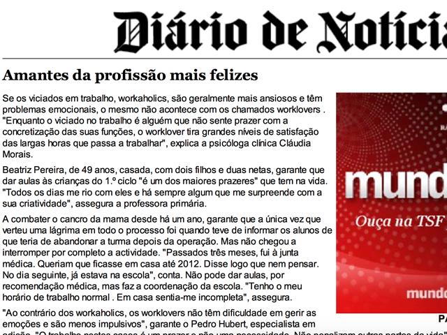 Diário de Notícias: Amantes da profissão mais felizes