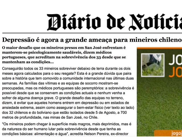 """Diário de Notícias: Depressão é agora a grande ameaça para mineiros chilenos""""."""