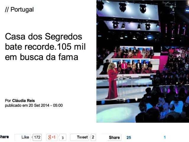 Jornal I - Reality Shows